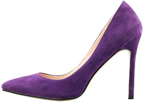 Mujer Zapatos Tacón Aguja Ponerse Calaier 10cm De Morado Sintético Cacrossing HRBAxdq