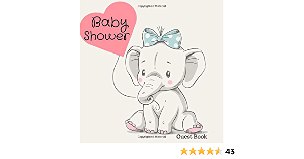 PERSONALISED 3D ELEPHANT BABY SHOWER GUEST BOOK SCRAPBOOK ALBUM MESSAGE BOOK
