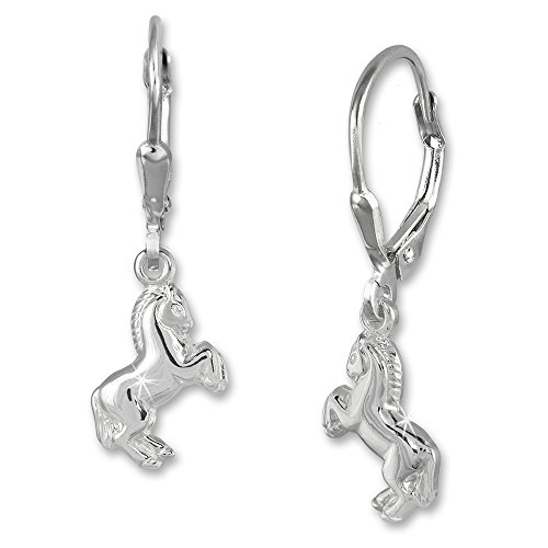 925 Sterling Silver dangle earring horse, Teenie-Weenie, 925 Sterling Silver (925 Sterling Silver Dangle Earrings)