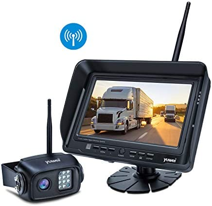 Wireless Backup Camera System Kit, IP69K Waterproof Wireless Rear View Camera 7 LCD Wireless Reversing Monitor for Trailer, RV, Bus, Trucks, Horse-Trailer, School Bus, Farm Machine,etc