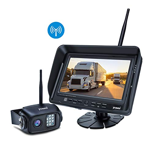 kup Camera System Kit, IP69K Waterproof Wireless Rear View Camera + 7'' LCD Wireless Reversing Monitor for Trailer, RV, Bus, Trucks, Horse-trailer, School Bus, Farm Machine,etc ()