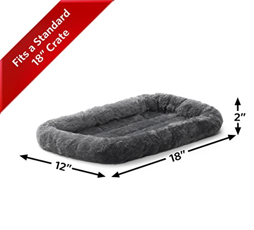 """18L-Inch Gray Dog Bed or Cat Bed w/ Comfortable Bolster   Ideal for """"Toy"""" Dog Breeds & Fits an 18-Inch Dog Crate   Easy Maintenance Machine Wash & Dry   1-Year Warranty"""