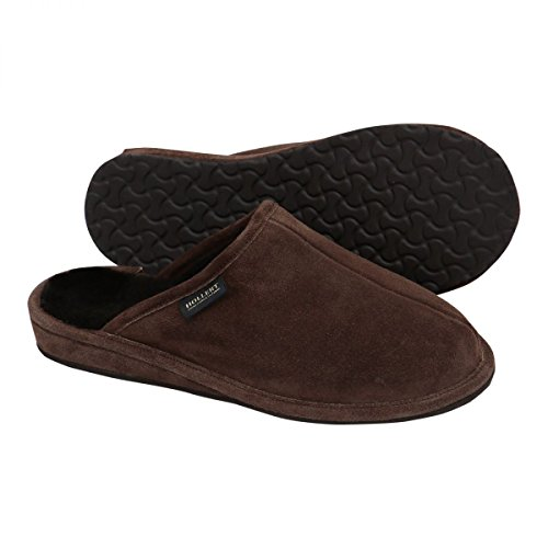 Hollert German Leather Fashion Lammfell Hausschuhe - bodo Herren Pantoffeln Braun Braun