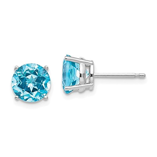 ICE CARATS 14kt White Gold 7mm Blue Topaz Post Stud Ball Button Earrings Gemstone Fine Jewelry Ideal Gifts For Women Gift Set From Heart - 7 Mm White Button