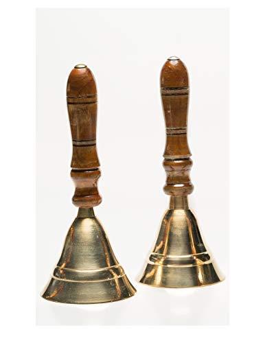 - Two Hand Held Service School Butler Dinner Call Bells ~ Polished Brass With Wooden Handle