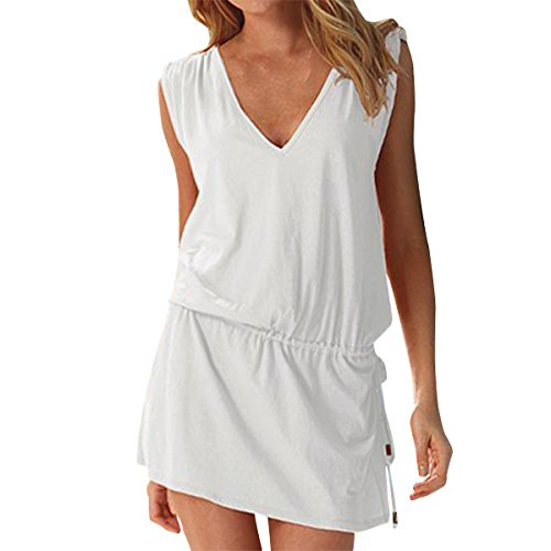 LAPAYA Women's Swim Beach Dress Deep V Neck Open-Back Beach Cover Up Beach Skirt, White, 2-6