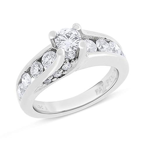 Desire My Diamonds 1.53 Ct. Natural Floating Diamond Engagement Ring Solid 14k White Gold