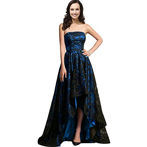 Strapless Black Lace High Low Long A Line Prom Evening Formal Dresses Plus Size Royal Blue US 20W