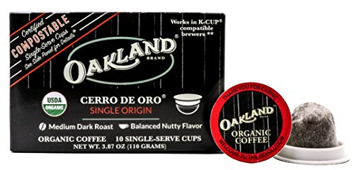 Oakland Coffee Works, Cerro De Oro, Single Origin, Organic Coffee in Single-Serve Pods, Certified Compostable by BPI, 10 Count