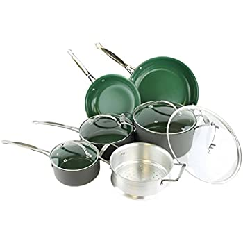 Orgreenic Ceramic Coated Non-Stick Cookware Set (10 Piece) by BulbHead - Cook Delicious Healthy Recipes the Safe Way