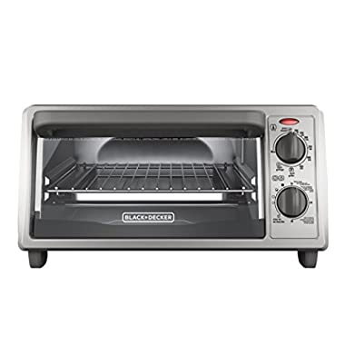 BLACK+DECKER TO1322SBD 4-Slice Toaster Oven, Includes Bake Pan, Broil Rack & Toasting Rack, Stainless Steel/Black Toaster Oven
