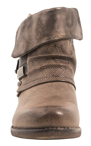 Metallic Bottines Elara London Femmes Rivets Khaki Motard Bottes TgTIqpzw