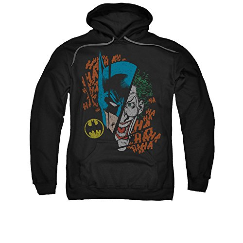 DC Comics Batman & Joker Broken Visage Adult Pull-Over Hoodie (Dc Joker Comics)