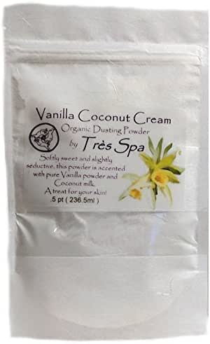 Très Spa Vanilla Cream Dusting Powder - Organic Botanicals with Vanilla Bean & Coconut Cream | Natural Body Powder that is Talc Free, Clay Free, Non GMO (.5pt Bulk Bag)