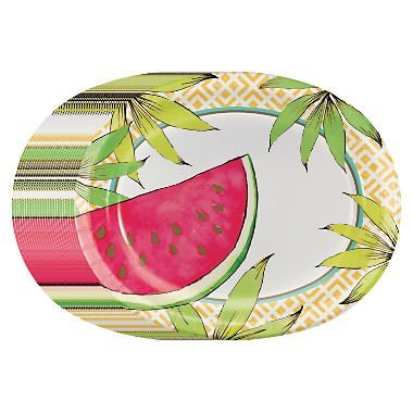 Water Melon Premium Oval Paper Plates 10 in X 12 in - 50 Count