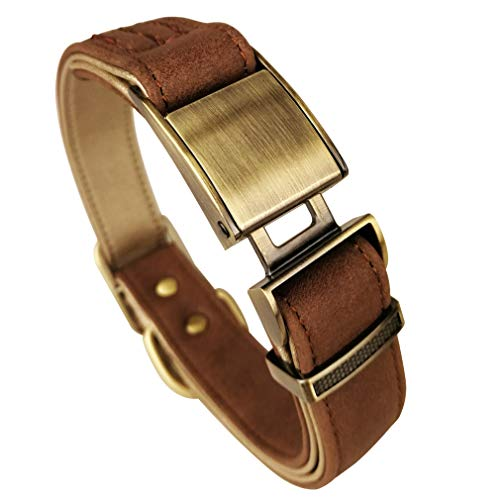 Fourhorse Basic Classic Luxury Padded Leather Dog Collar,The Seatbelt Buckle,for Large Medium Small Pets (L, Brown)