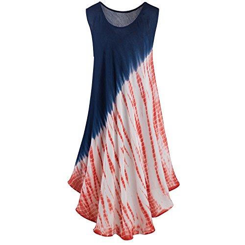 Kaktus Sportswear Women's Tie-Dye Sundress - Sleeveless Red White and Blue Dress - Large (Kaktus Clothing)