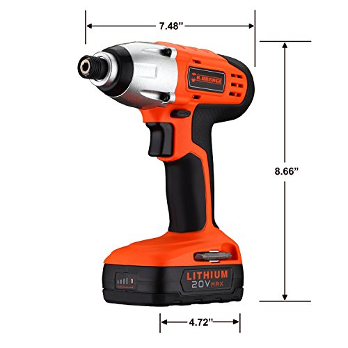 Mr.Orange 1/4 Inch 20V Lithium-Ion Cordless Impact Driver Kit with Quick Charger and Battery Includes Durable Gloves 2 pcs socket driver bits and Soft Tool Bag by Mr.Orange (Image #3)