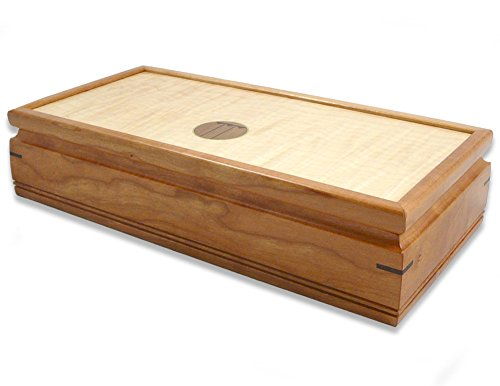 "Mikutowski Woodworking Small 11"" Handmade Wood Jewelry Box, Natural Cherry and Curly Maple with Craftsman-Style Inlay"