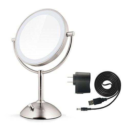 Dokpav oval double sided cosmetics mirror warm lighted for Oval swivel bathroom mirror