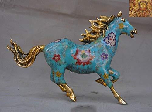 SIYAO Wedding Decoration China feng Shui Bronze Cloisonne Enamel Gilt Zodiac Animal Pentium Horse Statue
