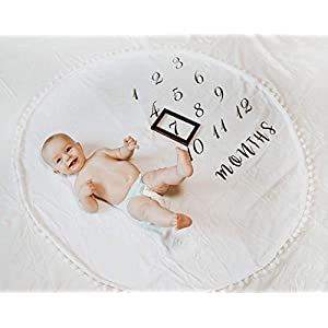 MAYLACO Monthly Milestone Blanket with Pom Poms – Baby Girl Baby Boy 47 X 47 inches – Neutral Colors – 1 to 12 Months – Photo Backdrop – Free Frame Included – Large – Circular – Baby Shower