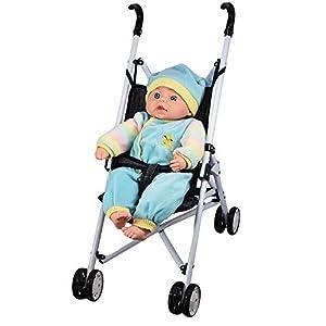 Baby Dolls Buggy Stroller Jogger Dolls Pram Pushchair Girls Boys Toy – Grey / Blue