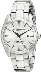 Stuhrling Original Men's 414.33112 Classic Ascot Prime Swiss Quartz Date Silver Dial Bracelet Watch