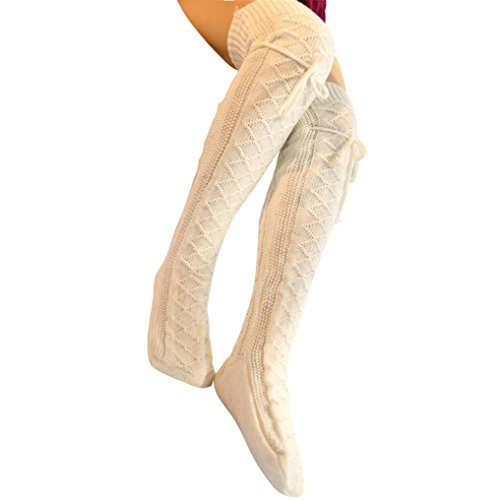 Qisc Womens Girls Over Knee High Socks Leg Warmer Leggings Ribbed Knit High Thigh Booties Stockings (Ribbed Thigh Highs)