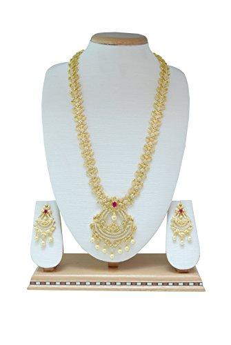 Femme collier de bijoux indien ethnique avec pierres blanches-Fleur incrustée et pierre rouge Centrale