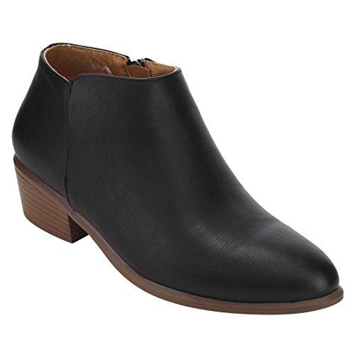 Pu Western Stacked Ankle Black Heel DE47 Zipper Inside Womens Booties Beston wcqIgYvc