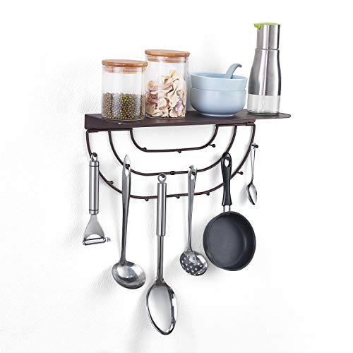 MXARLTR Floating Shelf Wall Mounted, Sturdy Iron Shelf for Kitchen, Bathroom Decor Storage Key Hooks Shelf with Hooks