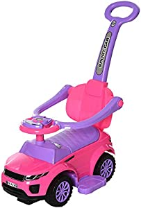 Aosom 3 in 1 Kid Ride on Push Car Stroller Sliding Walking Car with Horn Music Light Function Safety Bar Ride on Toy for Boy Girl Toddlers 1-3 Years Old Pink