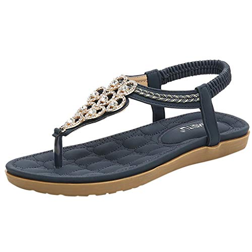 KESEELY Flat Shoes for Women Summer Beach T Strap Flip Flops Sandals Crystal Ankle Strap Shoes ()