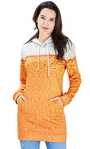 RAISEVERN Teen Girl's Casual Drawstring Hoodies Dress Personalized Beer Slim Sweatshirts Hipster Printed Hooded Pullover