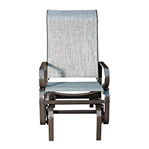 Sunlife Outdoor Garden Rocking Chair Steel Frame Patio Rocker Gliders Gray