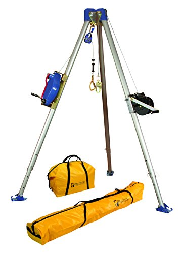 FallTech 7504 Confined Space Tripod Kit   -  7275 Tripod, 7285 3-Way SRL, 7290 Winch, 7421 Pulley, 8450 Carabiner, Storage Bags, Galvanized Cable, Natural by FallTech