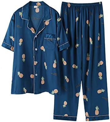 メンズシルクサテンパジャマ半袖パジャマ2ピースパジャマセットラウンジウェア