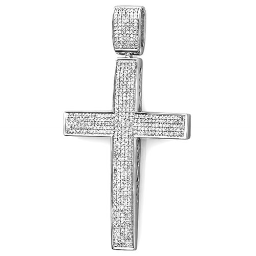 1.00 Carat (ctw) Sterling Silver Round Diamond Men's Hip Hop Religious Micro Pave Cross Pendant 1 CT by DazzlingRock Collection