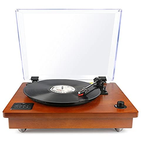 Marketworldcup - Bluetooth USB Turntable Vintage Record Player Vinyl-to MP3 Nature Wood, Speed Settings 78 RPM, 33.3RPM, 45RPM Bluetooth Support Wireless Sound, (Burke Wireless Mouse)