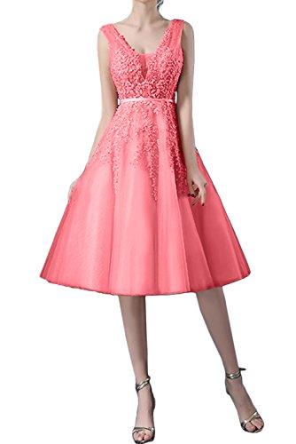 Wassermelone Kurz Traumhaft Damen Tuell Ivydressing Brautjungfernkleid Spitze Abendkleider Ballkleider Av8nxw