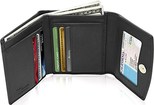Small Trifold Wallets For Women RFID Blocking - Genuine Leather Credit Card Holder With Coin Purse by Access Denied