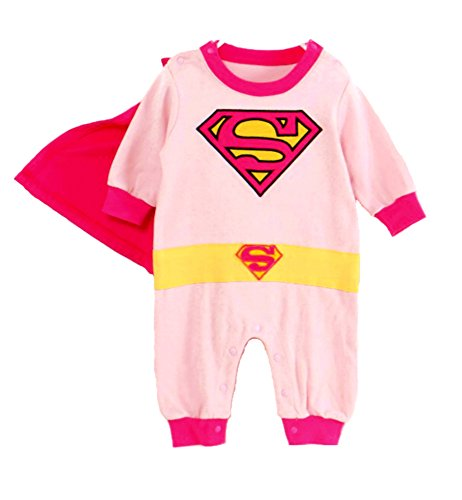 VogueFashion Baby Superhero Jumpsuit (18-24 Months, Pink Supergirl) ()