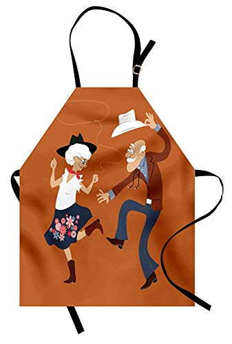 WAZZIT Country Apron Senior Old Couple with Western Costumes Dancing Partying Square Dance Contradance Kitchen Bib Apron Unisex with Neck Strap for Cooking Baking Barbecuing, Multicolor]()