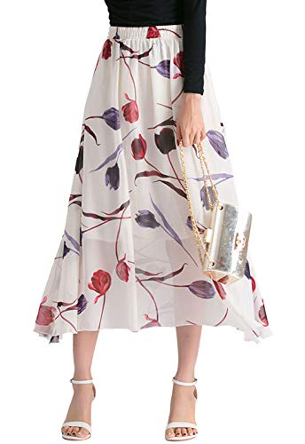 (Chartou Woman's Flowy High Elastic Waist Floral Print Pleated Chiffon Summer Skirts (One Size, Tulip))