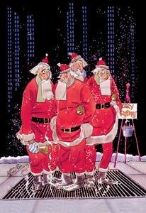 (Salvation Army Santas Try to Keep Warm Standing on Sidewalk Grating Fine Art Canvas Print (20
