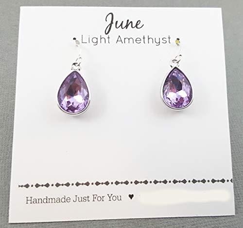 June Birthstone Earrings - Light Amethyst Crystal Sterling Silver Teardrop Earrings - Gift for Her
