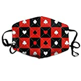 """Whages Black and Red Poker Background Personalized Washable Reusable Safety Breathable Mask, 4.3"""" 7.1"""", Adjustable Earrings for Running, Allergies, Flu"""