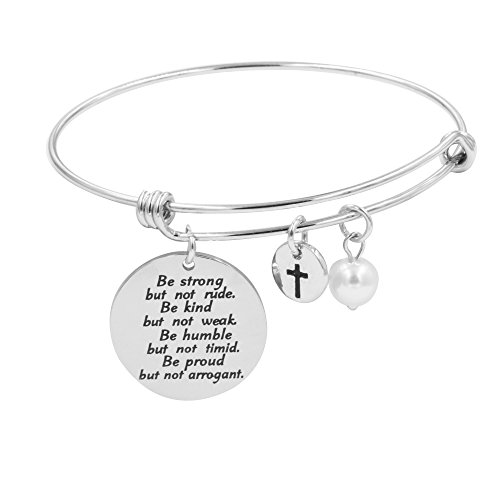 (Encourage Bracelet for Girls Expandable Bangle Jewelry Gift Stainless Steel(Be Strong) )
