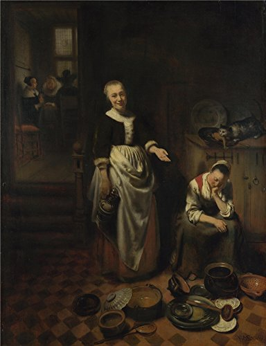 [The Polyster Canvas Of Oil Painting 'Nicolaes Maes The Idle Servant ' ,size: 8 X 10 Inch / 20 X 26 Cm ,this High Resolution Art Decorative Prints On Canvas Is Fit For Foyer Artwork And Home Artwork And] (Roman Servant Costume)